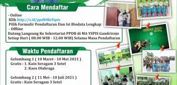 PPDB Tahun Pelajaran 2021/2022 MA YSPIS Rembang